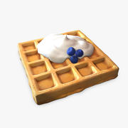 Waffle with cream 3d model