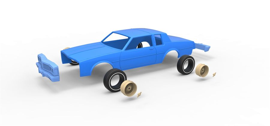 Diecast shell and wheels old school car Scale 1 to 25 royalty-free 3d model - Preview no. 15