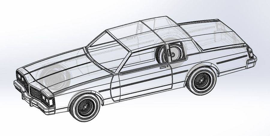 Diecast shell and wheels old school car Scale 1 to 25 royalty-free 3d model - Preview no. 19