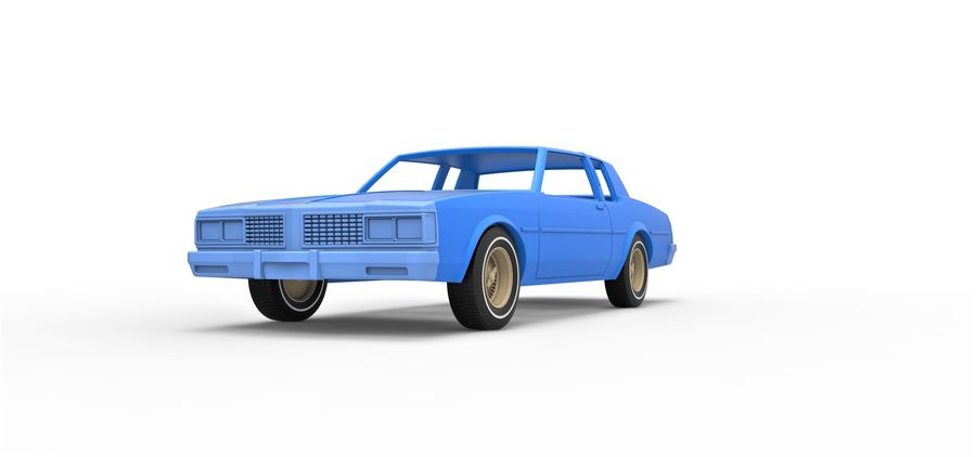 Diecast shell and wheels old school car Scale 1 to 25 royalty-free 3d model - Preview no. 4