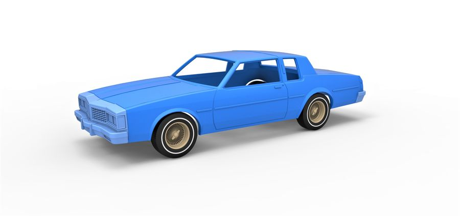 Diecast shell and wheels old school car Scale 1 to 25 royalty-free 3d model - Preview no. 1