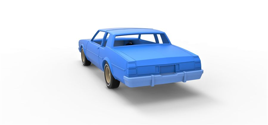 Diecast shell and wheels old school car Scale 1 to 25 royalty-free 3d model - Preview no. 12