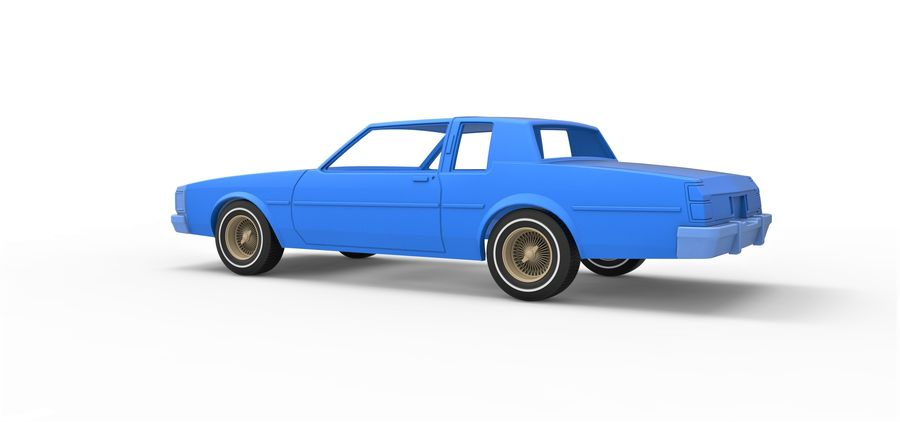 Diecast shell and wheels old school car Scale 1 to 25 royalty-free 3d model - Preview no. 11