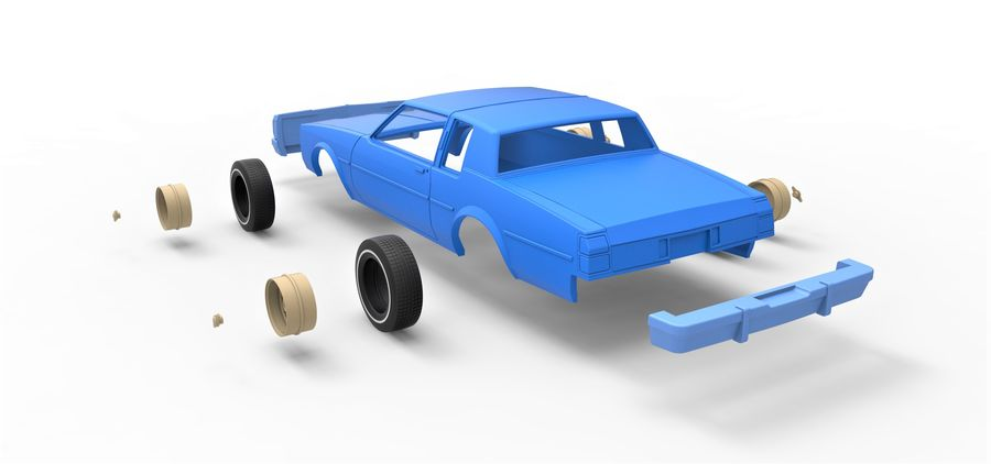 Diecast shell and wheels old school car Scale 1 to 25 royalty-free 3d model - Preview no. 17