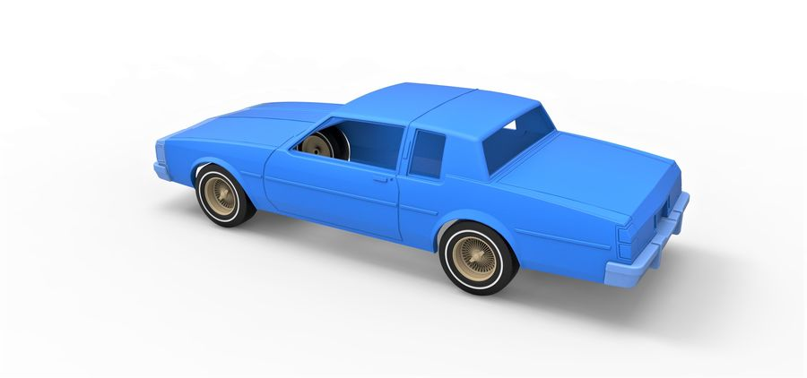 Diecast shell and wheels old school car Scale 1 to 25 royalty-free 3d model - Preview no. 10