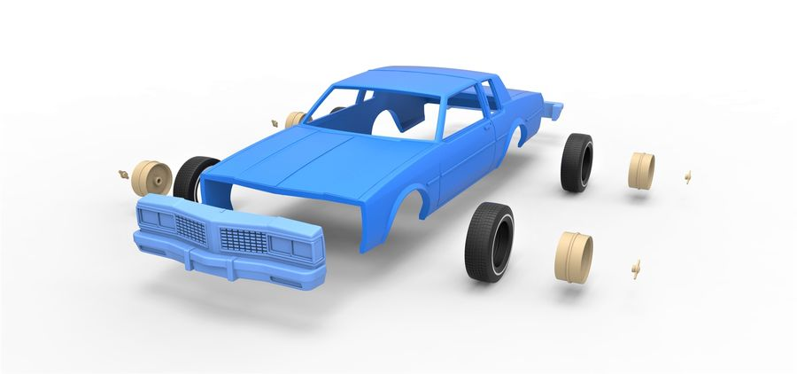 Diecast shell and wheels old school car Scale 1 to 25 royalty-free 3d model - Preview no. 16