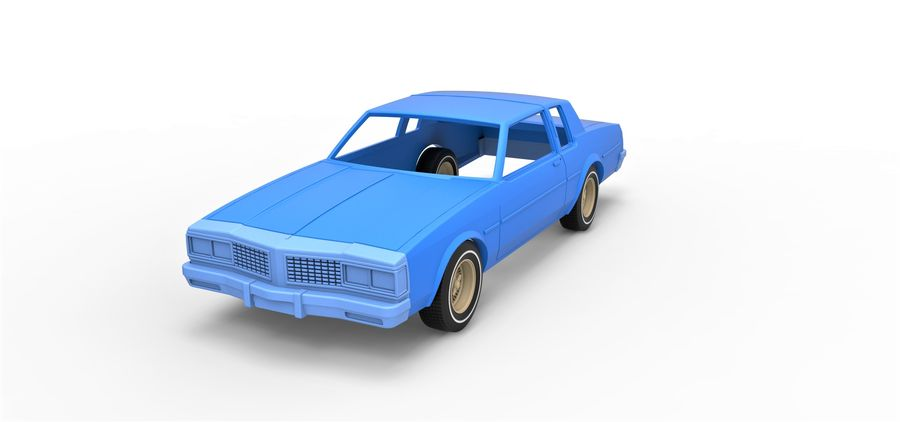 Diecast shell and wheels old school car Scale 1 to 25 royalty-free 3d model - Preview no. 3