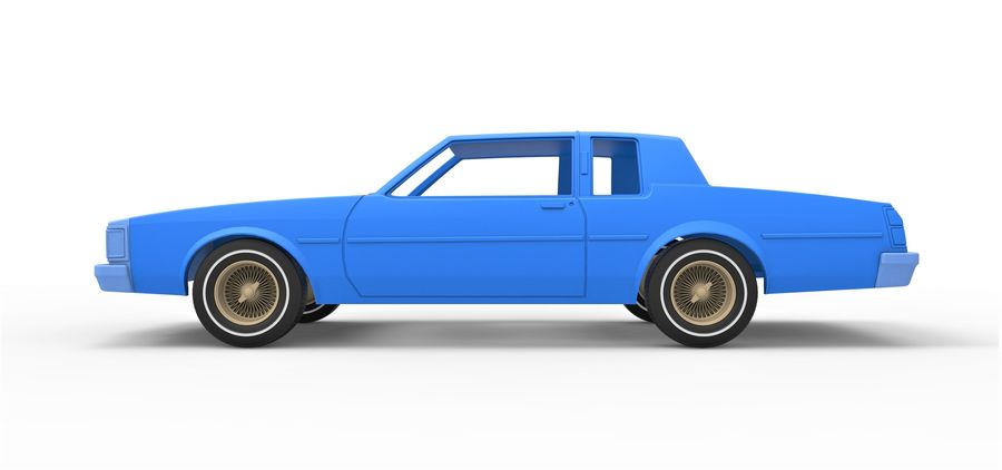 Diecast shell and wheels old school car Scale 1 to 25 royalty-free 3d model - Preview no. 7