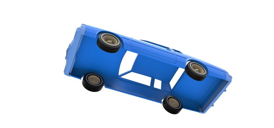 Diecast shell and wheels old school car Scale 1 to 25 royalty-free 3d model - Preview no. 14