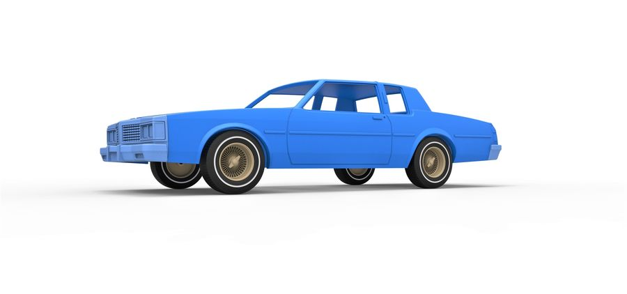 Diecast shell and wheels old school car Scale 1 to 25 royalty-free 3d model - Preview no. 2