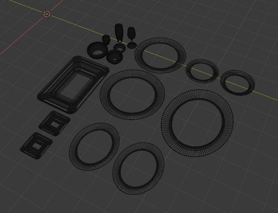 식사 테이블 자산 royalty-free 3d model - Preview no. 3
