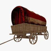 Covered Vintage Wagon 3d model