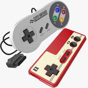 Zwei klassische Nintendo Joystick 3d model