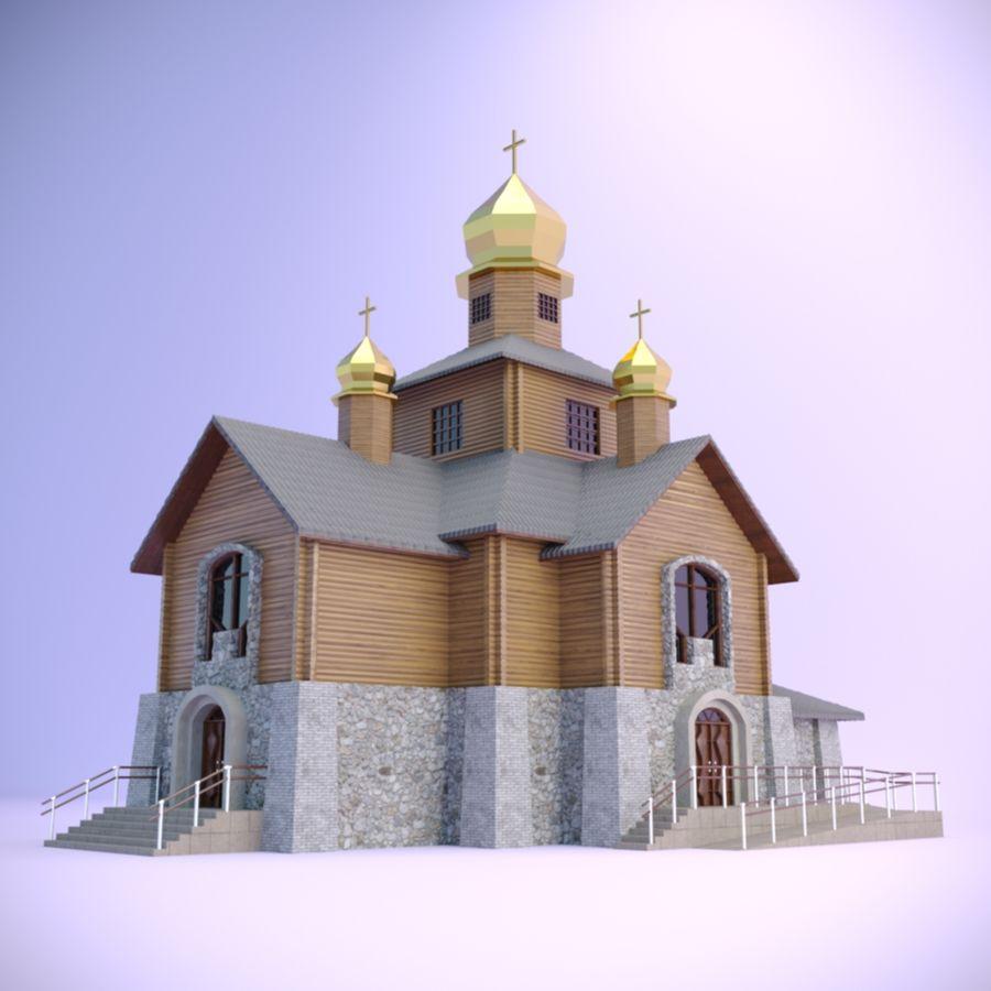 Kościół z drewnianym domem z bali royalty-free 3d model - Preview no. 1