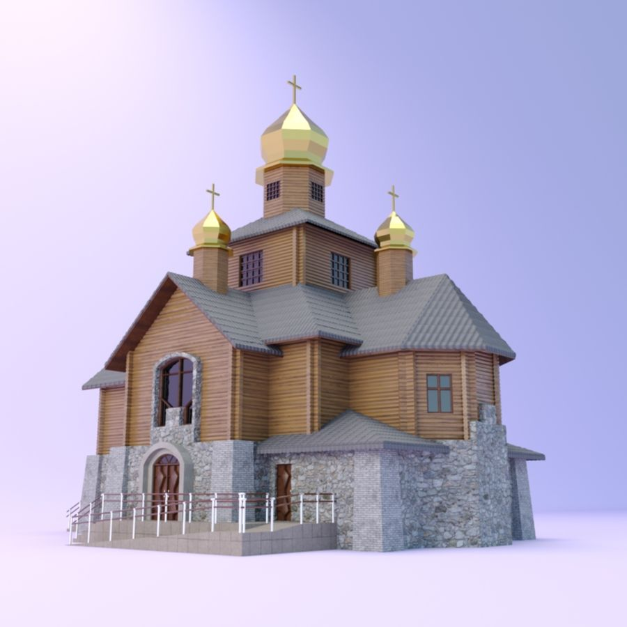 Kościół z drewnianym domem z bali royalty-free 3d model - Preview no. 3