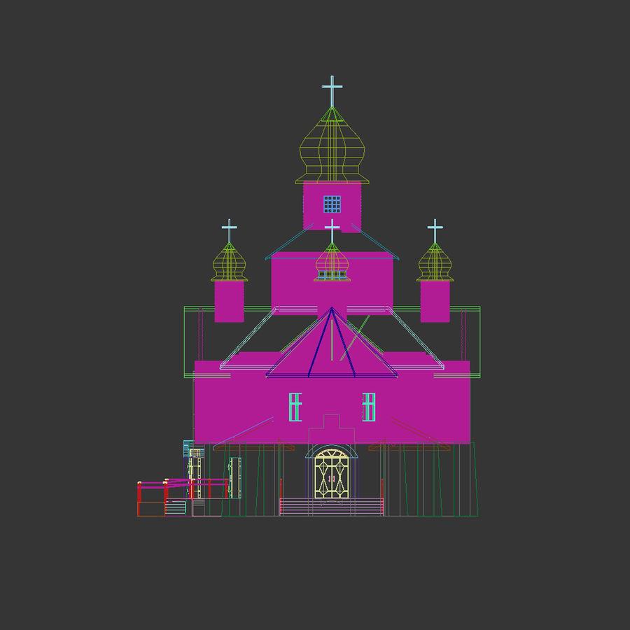 Kościół z drewnianym domem z bali royalty-free 3d model - Preview no. 6