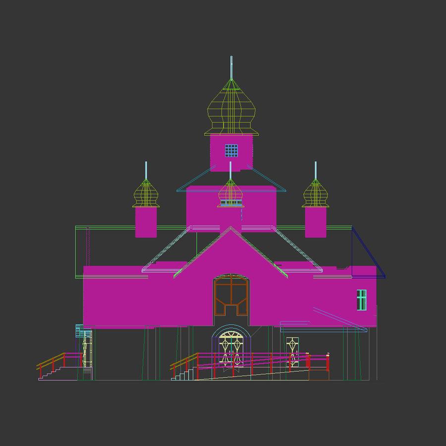 Kościół z drewnianym domem z bali royalty-free 3d model - Preview no. 5