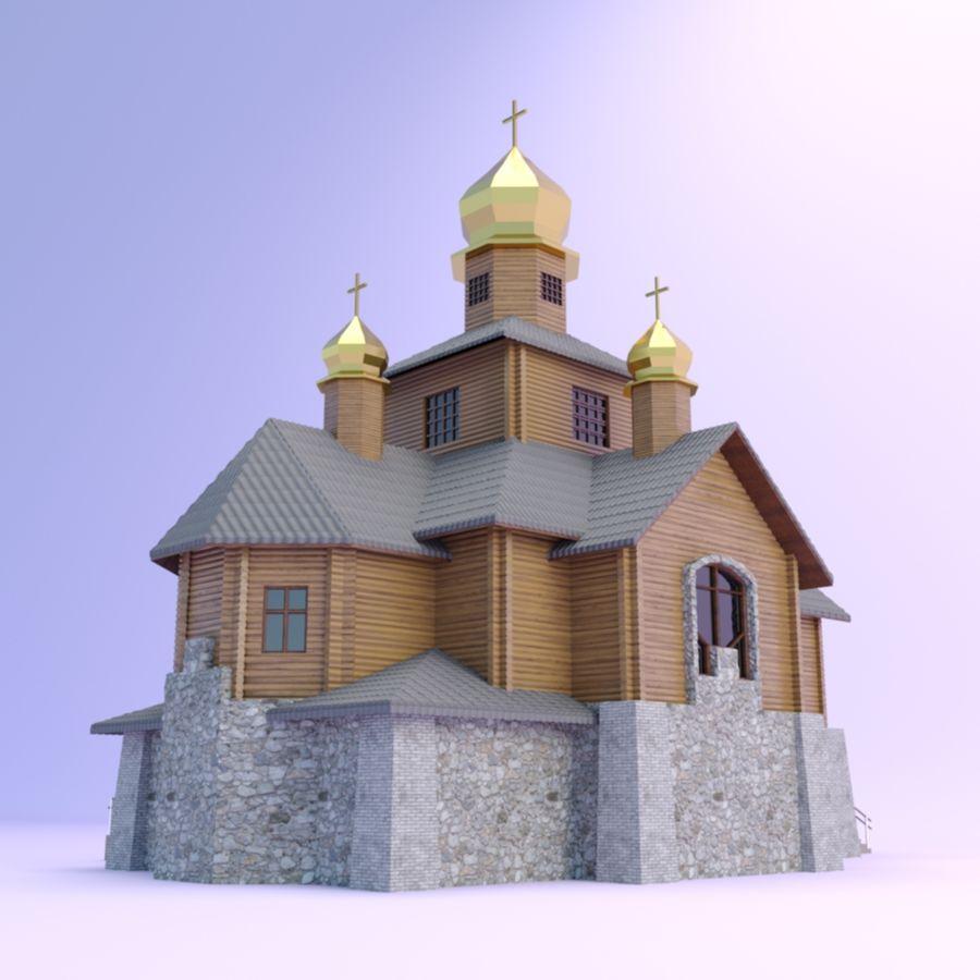 Kościół z drewnianym domem z bali royalty-free 3d model - Preview no. 4