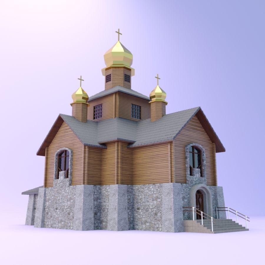 Kościół z drewnianym domem z bali royalty-free 3d model - Preview no. 2