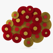 Röda och guldpappersfläktdekorationer V2 3d model