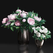 Pastel White Pink Peony Decor Metal Vases 3d model