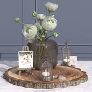Camélia vase vase événement cadre photo bougie chevalet décoratif ensemble 3d model