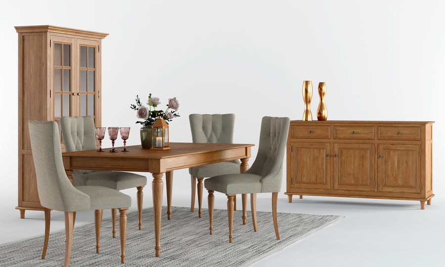 Laura Ashley Aylesbury Dining Furniture Set royalty-free 3d model - Preview no. 1