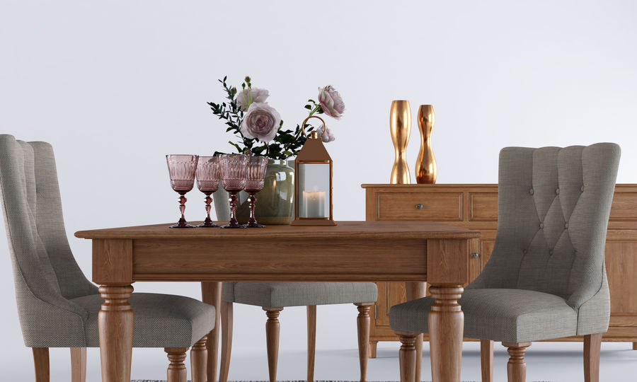 Laura Ashley Aylesbury Dining Furniture Set royalty-free 3d model - Preview no. 5