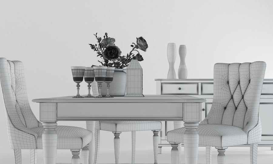 Laura Ashley Aylesbury Dining Furniture Set royalty-free 3d model - Preview no. 6