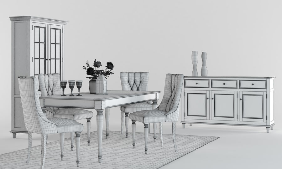 Laura Ashley Aylesbury Dining Furniture Set royalty-free 3d model - Preview no. 2