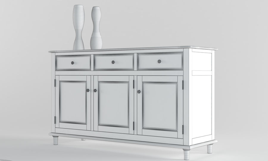Laura Ashley Aylesbury Dining Furniture Set royalty-free 3d model - Preview no. 4