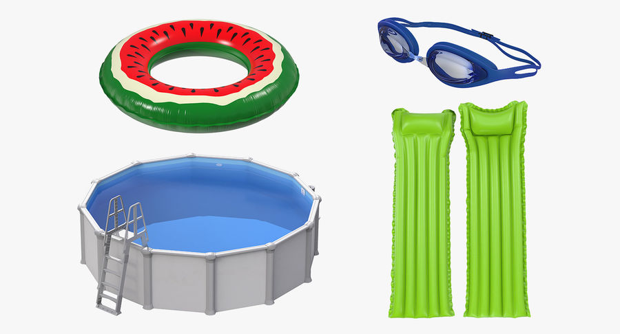 Swimming Pool and Accessories Collection royalty-free 3d model - Preview no. 3
