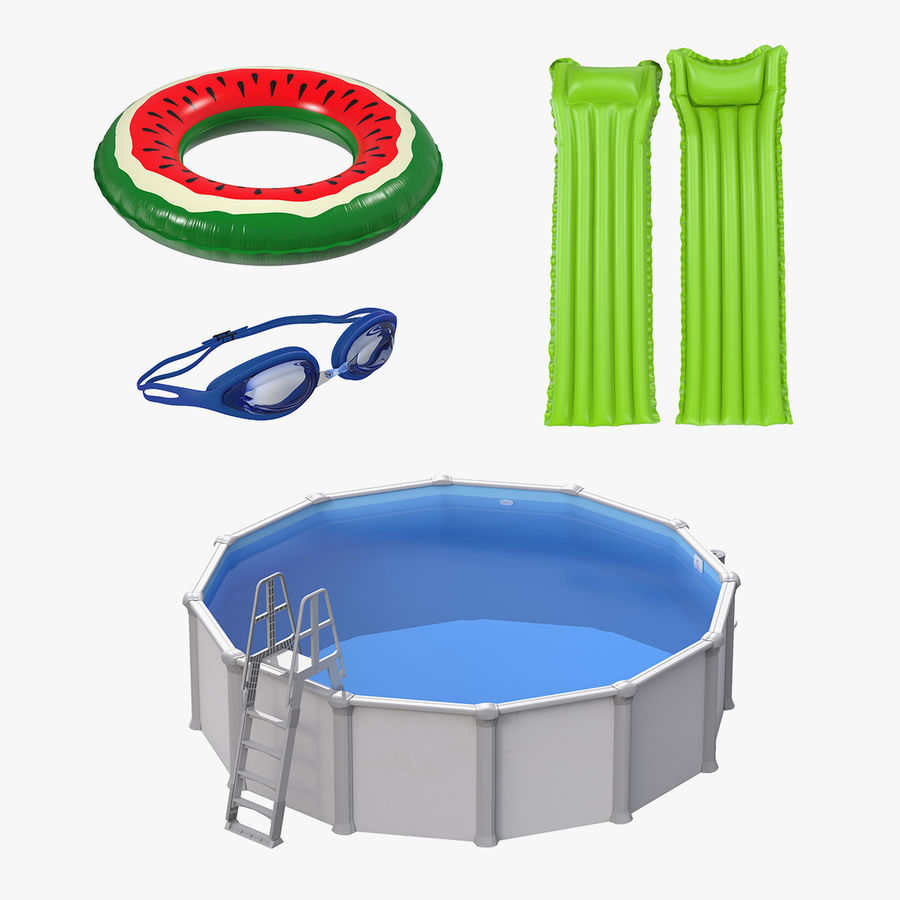 Swimming Pool and Accessories Collection royalty-free 3d model - Preview no. 2