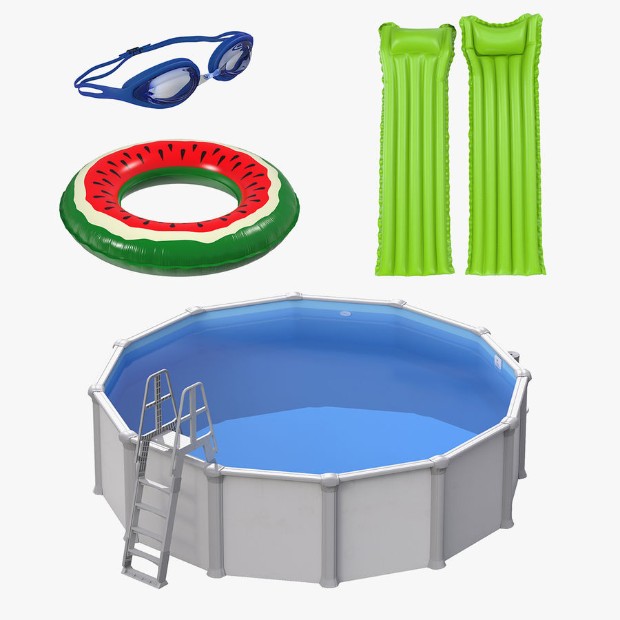 Swimming Pool and Accessories Collection royalty-free 3d model - Preview no. 1