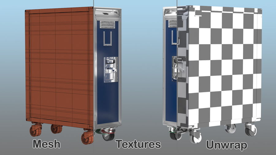 Full Size Aviation Trolley royalty-free 3d model - Preview no. 13
