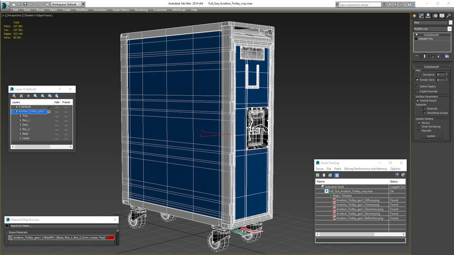 Full Size Aviation Trolley royalty-free 3d model - Preview no. 20