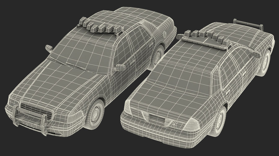Ogólny samochód policyjny NYPD Rigged royalty-free 3d model - Preview no. 37