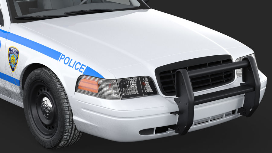 Ogólny samochód policyjny NYPD Rigged royalty-free 3d model - Preview no. 19