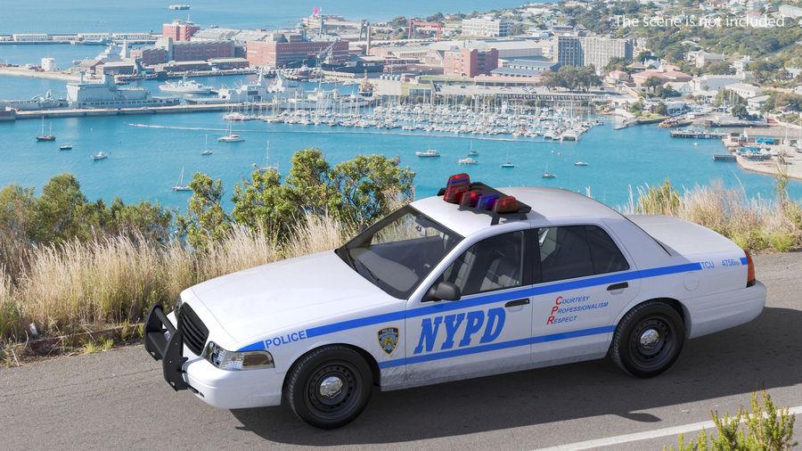 Ogólny samochód policyjny NYPD Rigged royalty-free 3d model - Preview no. 3