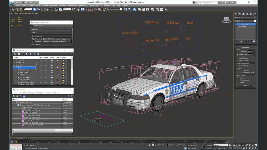 Ogólny samochód policyjny NYPD Rigged royalty-free 3d model - Preview no. 34
