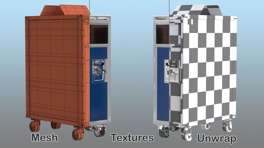 Full Size Waste Trolley royalty-free 3d model - Preview no. 14