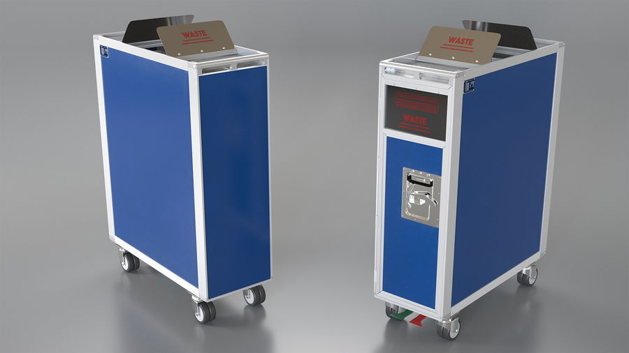 Full Size Waste Trolley royalty-free 3d model - Preview no. 2