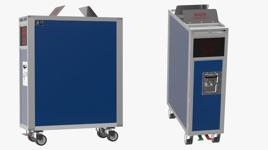 Full Size Waste Trolley royalty-free 3d model - Preview no. 8
