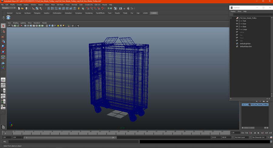 Full Size Waste Trolley royalty-free 3d model - Preview no. 19