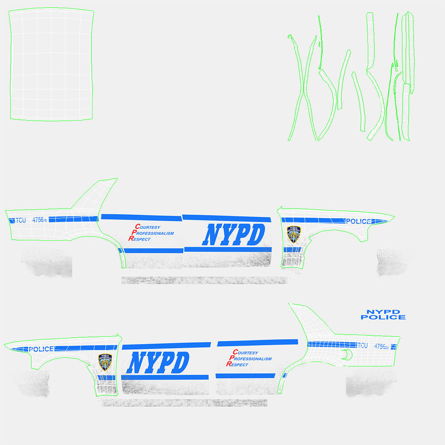 Generisk polisbil NYPD royalty-free 3d model - Preview no. 30