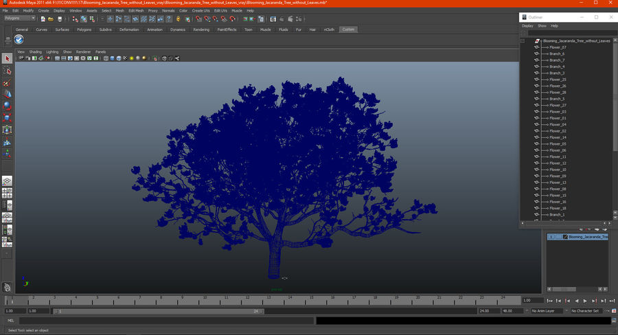 Blühender Jacaranda-Baum ohne Blätter royalty-free 3d model - Preview no. 20