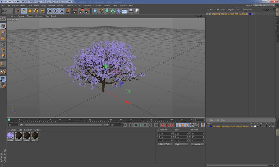 Blühender Jacaranda-Baum ohne Blätter royalty-free 3d model - Preview no. 21