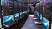 Full serverrack med bärbar dator på glidhylla 3d model