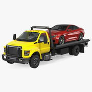 Tow Truck with Evacuated Car 3d model