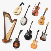 Kolekcja instrumentów strunowych 4 3d model